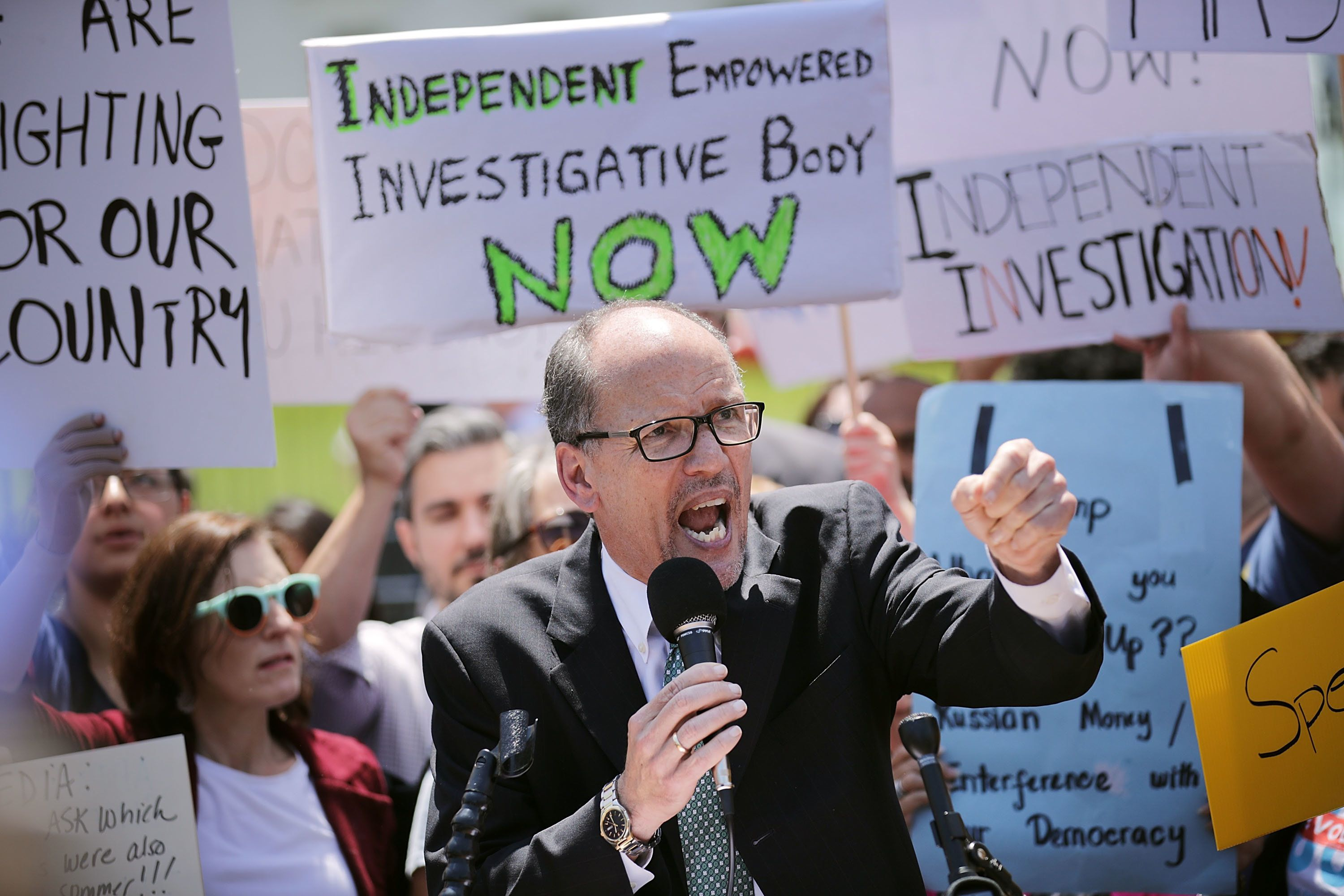 WASHINGTON, DC - MAY 10:  Democratic National Party Chirman Tom Perez speaks as people rally to protest against President Donald Trump's firing of Federal Bureau of Investigation Director James Comey outside the White House May 10, 2017 in Washington, DC. Trump fired Comey a day earlier, calling it the 'Tuesday Night Massacre,' recalling former President Richard Nixon's firing of a independent special prosecutor.   (Photo by Chip Somodevilla/Getty Images)
