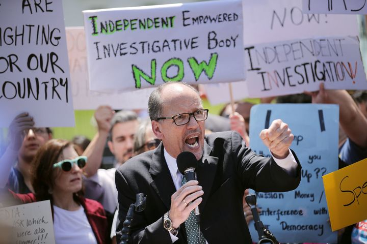 Democratic National Committee Chairman Tom Perez is facing criticism for ousting backers of his former DNC rival.