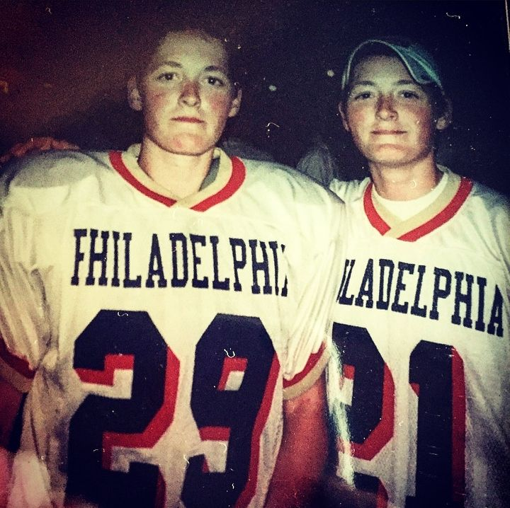 <p>Me and my twin sister, Jen (left), in our Philadelphia Liberty Bell's uniforms.</p>