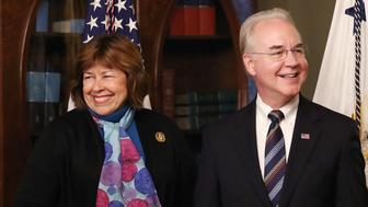 WASHINGTON, DC - FEBRUARY 10: Rep. Tom Price (R-GA) stands with his wife Betty Price before being sworn in as the new Health and Human Services Secretary, on February 10, 2017 in Washington, DC. Yesterday Price was confirmed by the U.S. Senate.  (Photo by Mark Wilson/Getty Images)