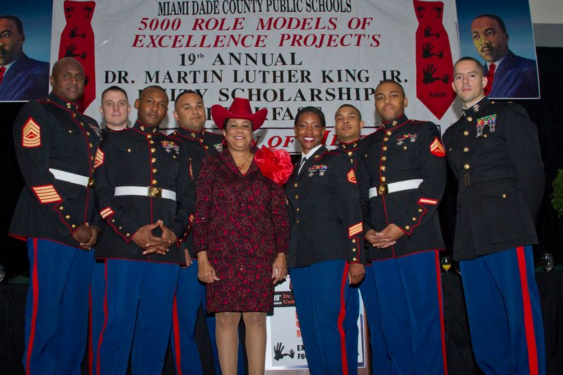 Rep. Frederica Wilson joins Marines at the 19th Annual Martin Luther King, Jr. Unity Scholarship Breakfast Jan. 16, 2012 in M