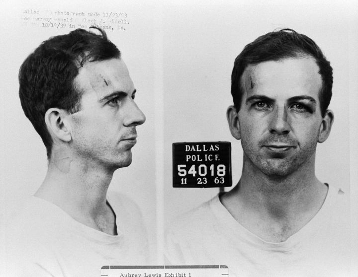 Lee Harvey Oswald is seen following his arrest for possible involvement in the John F. Kennedy assassination and the murder o