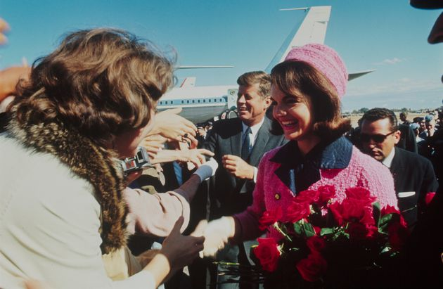 President John F. Kennedy and his wife, Jacqueline Kennedy, are seen after arriving in Dallas, Texas,...