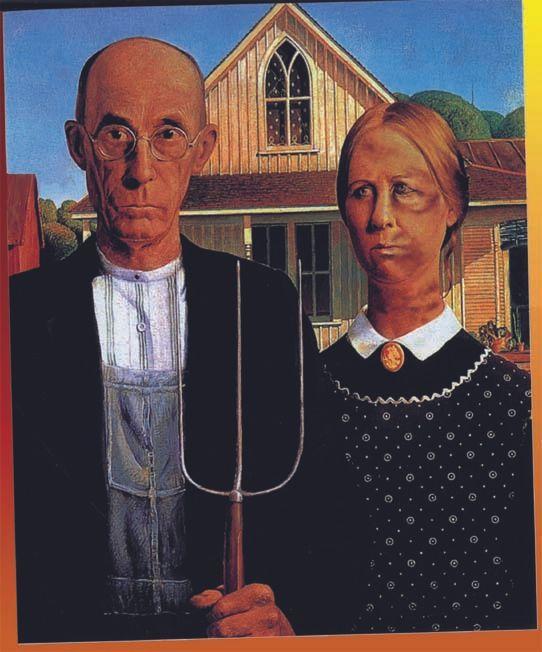 """American Gothic"" by Grant Wood with digital reinterpretation by Rebecca Hull."