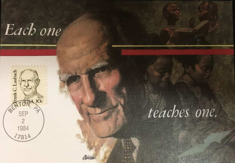 Frank Laubach, the father of the modern worldwide literacy movement, celebrated with his own stamp and postcard.