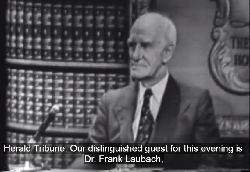 "Frank Laubach, the father of modern-day literacy, being interviewed on a <a rel=""nofollow"" href=""http://search.alexanderstree"