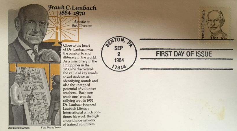 "I was inspired enough by Frank Laubach's life to go buy my first ""first day of issue"" stamp, commemorating his life and work."