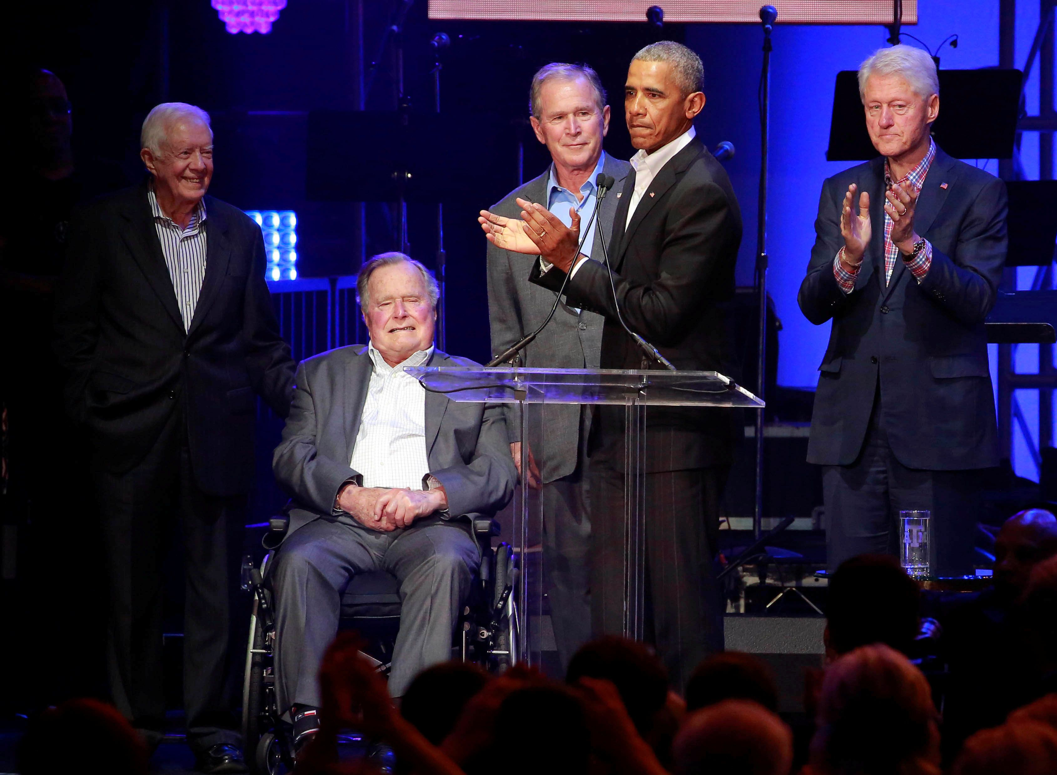 5 ex-presidents attend hurricane relief concert; Trump appears in video message