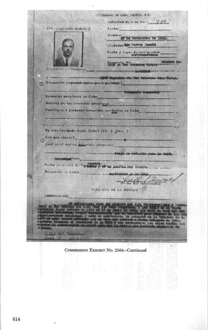 Oswald's Cuban visa application.