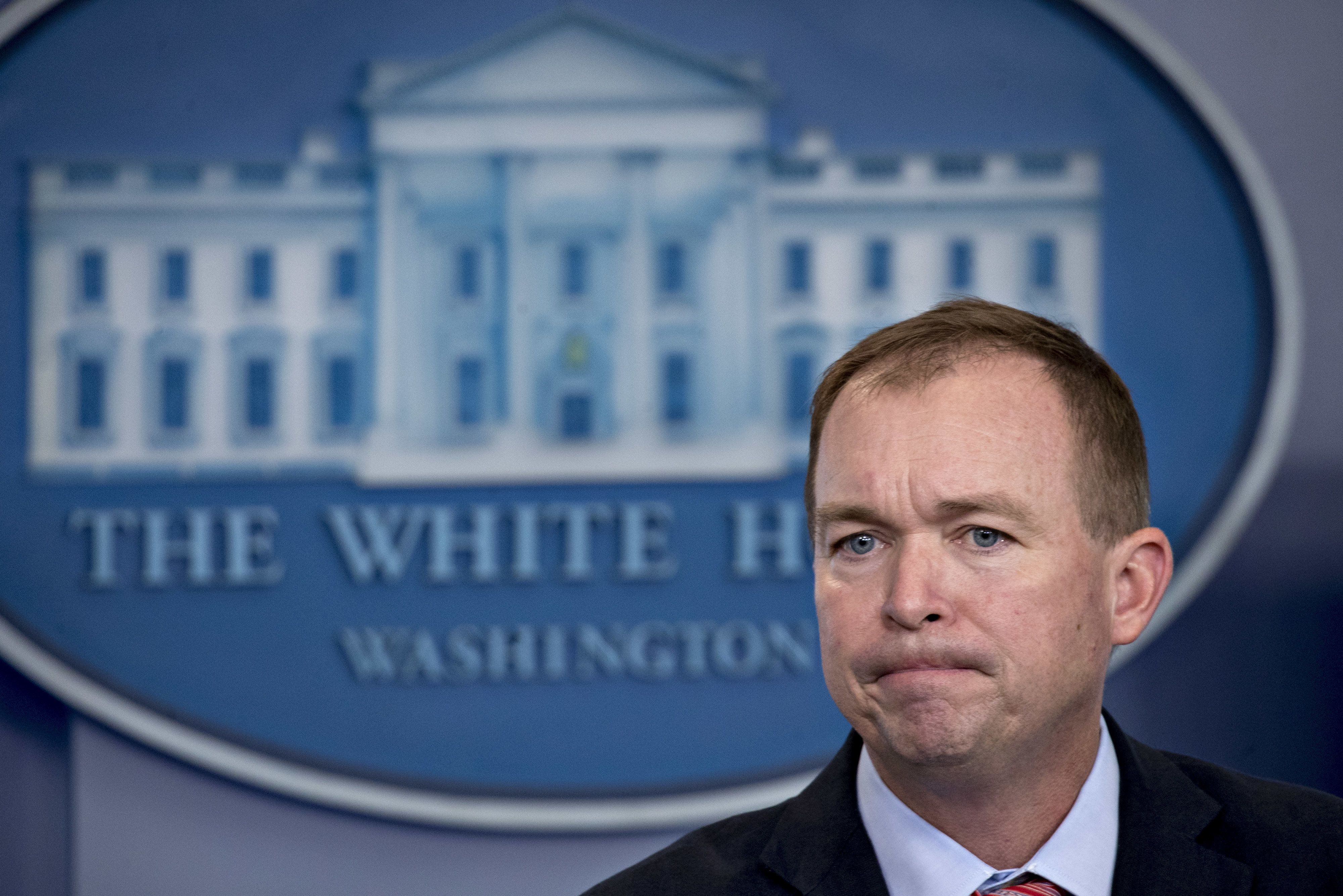 Mick Mulvaney, director of the Office of Management and Budget (OMB), pauses while speaking during a White House press briefing in Washington, D.C., U.S., on Thursday, July 20, 2017. Mulvaney has called Trump's tax-cutting approach to the economy MAGAnomics, a spin on Trump's campaign slogan, 'Make America Great Again' and has repeatedly attacked the Congressional Budget Office (CBO) for its estimates on the impact of Republicans' plans to repeal and replace Obamacare. Photographer: Andrew Harrer/Bloomberg via Getty Images