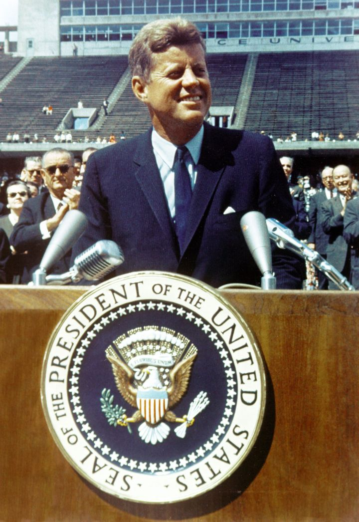 John Fitzgerald Kennedy, 35th President of the United States, serving from 1961 until his assassination in 1963.