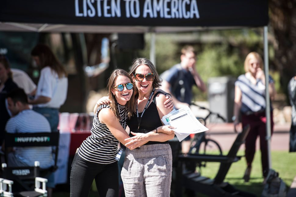 Emma Reilly hugs Hillary Frey during HuffPost's visit to University of Arizona in Tucson.