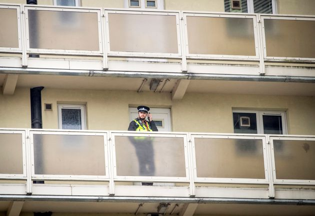 A police officer at the scene at Newcastle