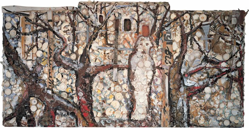 <strong>Julian Schnabel   </strong><em>The Student of Prague</em>, 1983    Oil, plates, branches, wood, screen mesh, bondo on