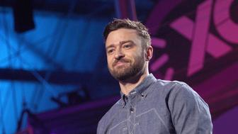 SANTA MONICA, CA - SEPTEMBER 08:  Justin Timberlake speaks on stage during XQ Super School Live, presented by EIF, at Barker Hangar on September 8, 2017 in Santa California.  (Photo by Tommaso Boddi/Getty Images for EIF)