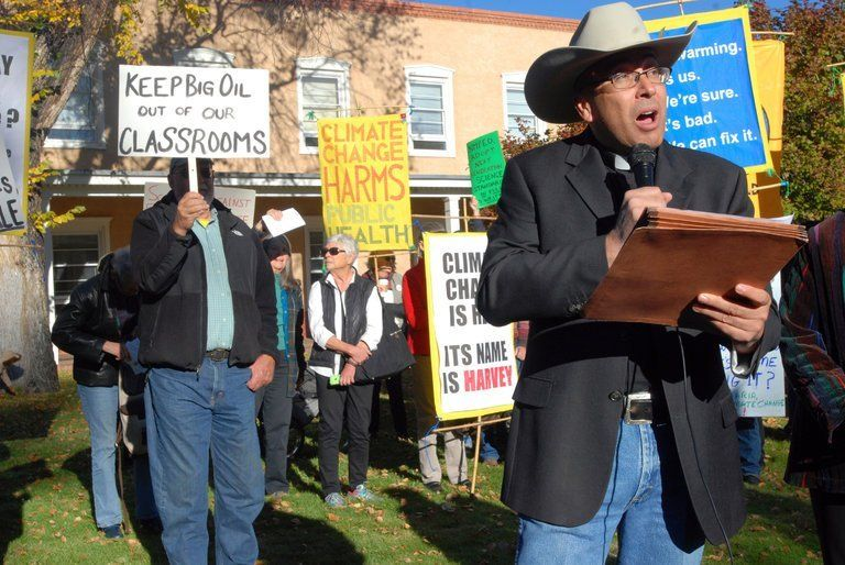 Roman Catholic Pastor Vincent Paul Chavez spoke representing the Santa Fe Archdiocese at protests against the rejected draft