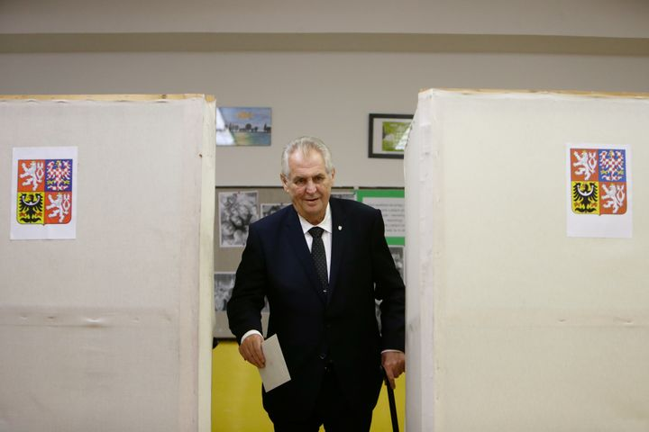 Czech President Milos Zeman casts his vote in parliamentary elections at a polling station in Prague on Oct. 20, 2017.