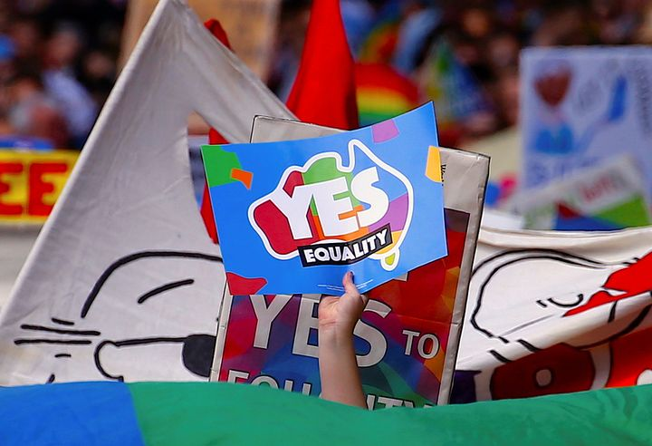"""Though the postal ballot is non-binding, a """"yes"""" vote is expected to lead to the legalization of same-sex marriag"""