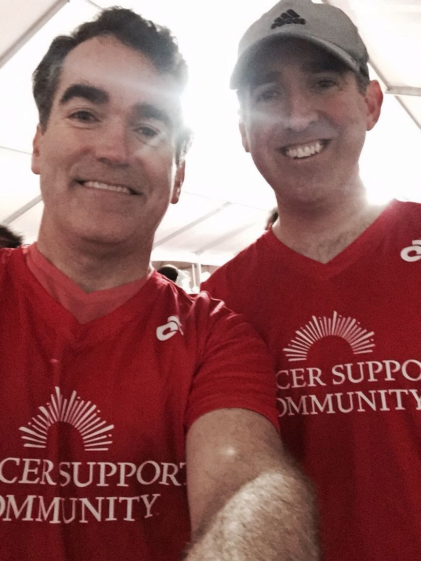 Three time Tony Award nominated actor and singer Brian d'Arcy James and his brother Andrew James after running the 2017