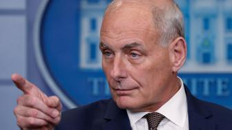White House Chief of Staff John Kelly takes questions while addressing the daily briefing at the White House in Washington, U.S., October 12, 2017. REUTERS/Kevin Lamarque