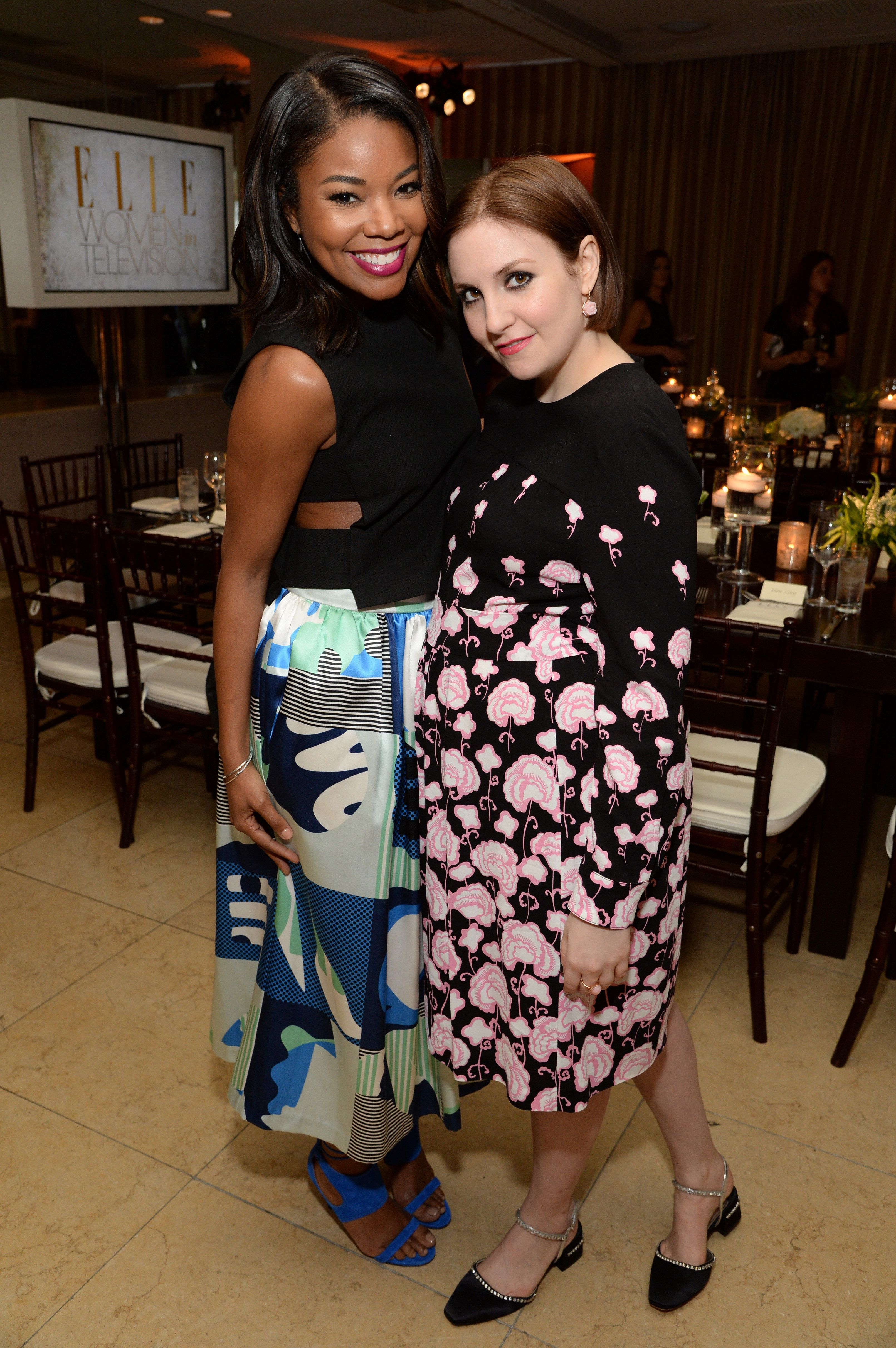 WEST HOLLYWOOD, CA - JANUARY 13:  Actresses  Gabrielle Union (L) and Lena Dunham attend ELLE's Annual Women in Television Celebration on January 13, 2015 at Sunset Tower in West Hollywood, California. Presented by Hearts on Fire and Olay.  (Photo by Michael Kovac/Getty Images for Elle/Hearts On Fire)