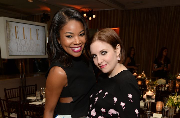 Gabrielle Union and Lena Dunham pose together at ELLE's Annual Women in Television Celebration in January.