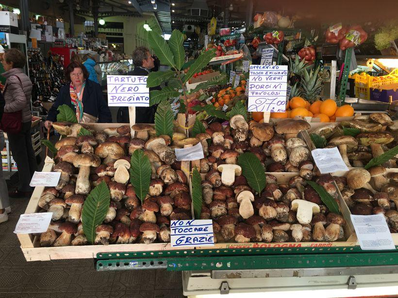 Abundant wild mushrooms - porcini - at Modena's Albinelli market
