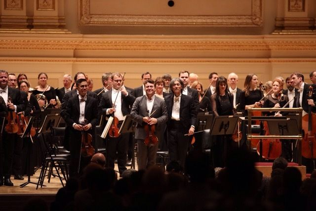 End of concert bows with violinist Maxim Vengerov and Kent Nagano with the Orchestre symphonique de Montréal at Carnegie Hall