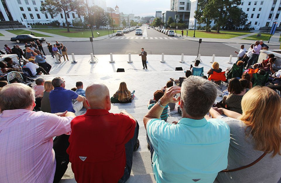Montgomery County District Attorney Daryl Bailey addresses a congregation on the steps of the state Capitol in October.