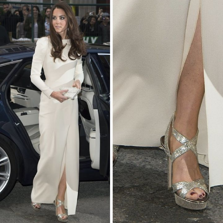 The Duchess of Cambridge arrives for a dinner given by The Thirty Club at Claridge's in London.