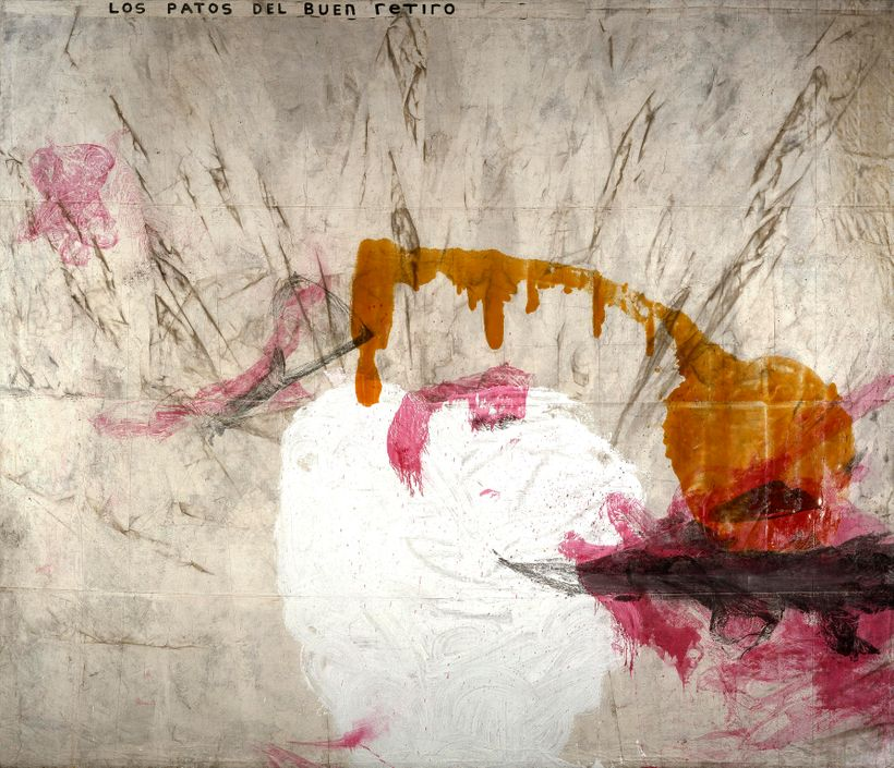<strong>Julian Schnabel  </strong><em>Untitled (Los Patos del Buen Retiro*)</em>, 1991  oil, resin, gesso, dirt on tarpaulin*