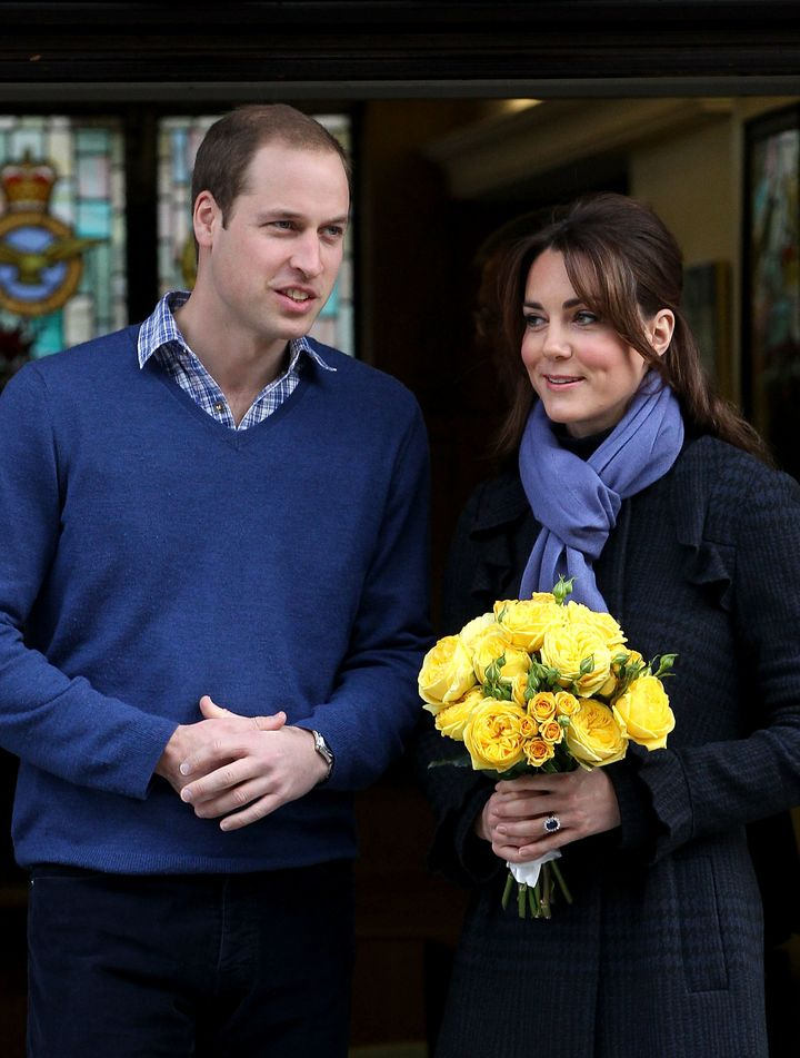 The Duchess of Cambridge, Catherine Middleton and Prince William, Duke of Cambridge leave the King Edward VII hospital on Dec