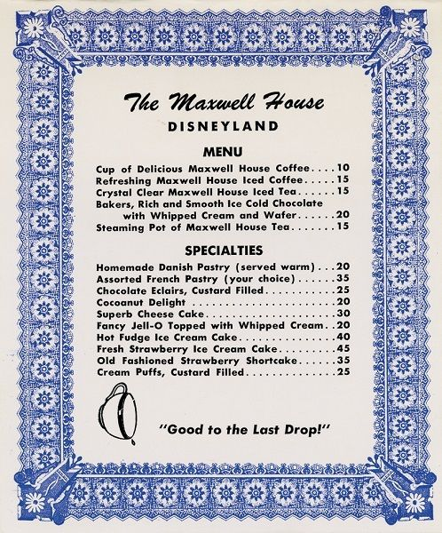 The Maxwell House Restaurant Menu