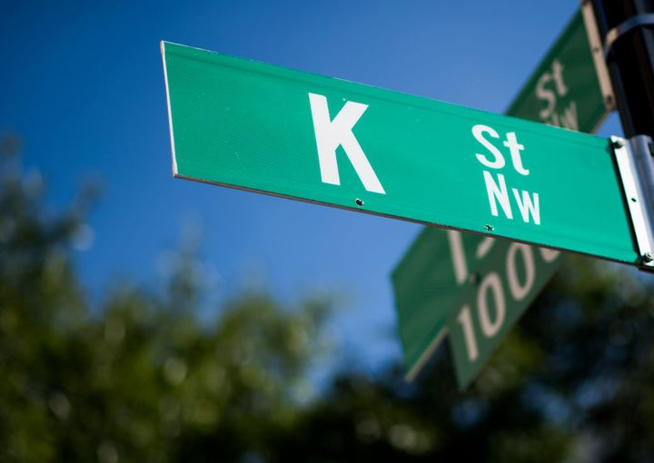 K Street sign at 15th and K in Washington.
