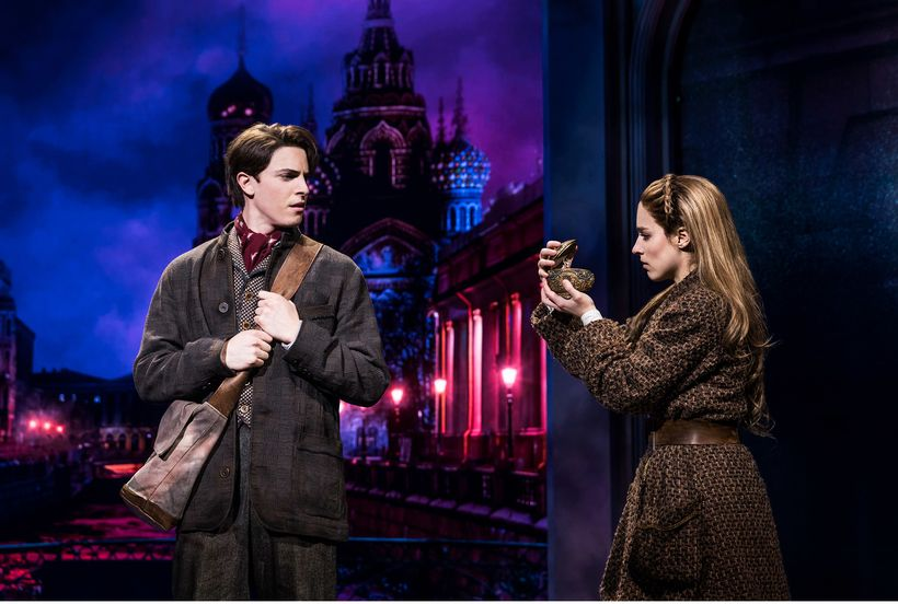 The royal pair: con man Dmitry (Derek Klena) and street-sweeper Anya (Christy Altomare), with a secret music box