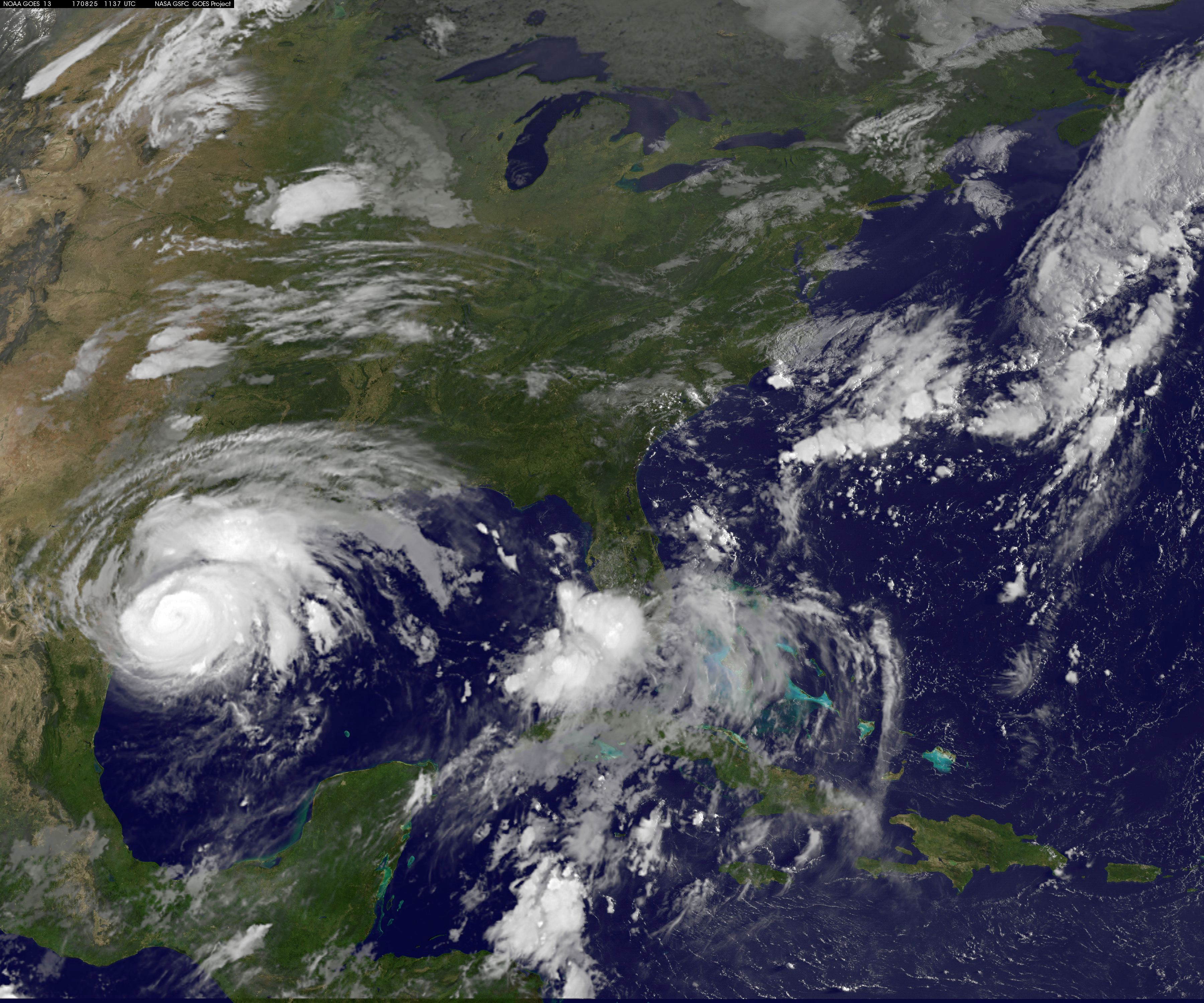 Hurricane Harvey is seen approaching the Texas Gulf Coast, U.S.,in this NOAA GOES East satellite  image taken at 7:07 ET (11:37 GMT) August 25, 2017.  NOAA/Handout via Reuters   THIS IMAGE HAS BEEN SUPPLIED BY A THIRD PARTY. IT IS DISTRIBUTED, EXACTLY AS RECEIVED BY REUTERS, AS A SERVICE TO CLIENTS.