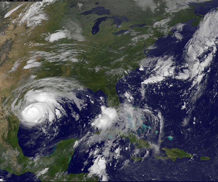 Hurricane Harvey, seen approaching the Texas coast in August.