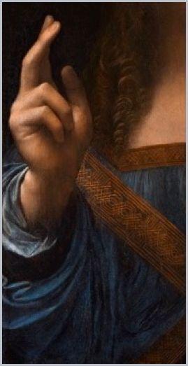(Detail of right hand) Salvator Mundi.