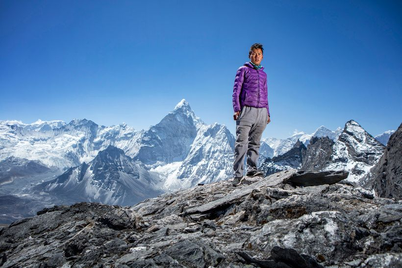 Tashi, a Nepalese climbing Sherpa, photographed in the Nepal Himalayas.
