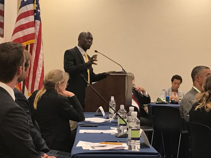 Thomas Awiapo in Washington DC speaking at an event set up by CRS and the House Hunger Caucus. Thomas spoke to members of Con