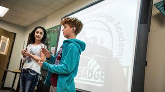 "ALBUQUERQUE, NM - OCTOBER 23: Pupils of the Albuquerque Sign Language Academy put on a an event during HuffPost's visit to the in Albuquerque, New Mexico, on Oct. 23, 2017, as part of ""Listen To America: A HuffPost Road Trip."" The outlet will visit more than 20 cities on its tour across the country. (Photo by Damon Dahlen/HuffPost) *** Local Caption ***"