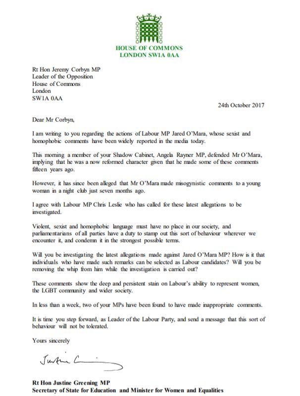 The full text of the letter from Justine