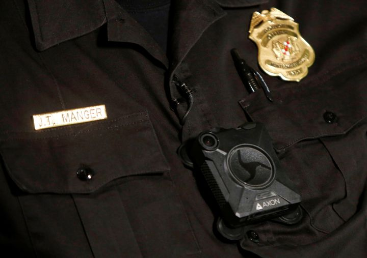 Montgomery County Police Chief J. Thomas Manger wears a body camera during an interview in Gaithersburg, Maryland, on Au