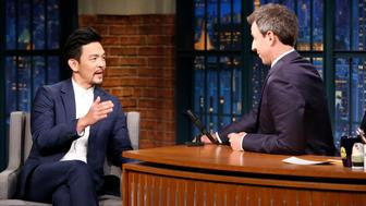 LATE NIGHT WITH SETH MEYERS -- Episode 595 -- Pictured: (l-r) Actor John Cho talks with host Seth Meyers during an interview on October 23, 2017 -- (Photo by: Lloyd Bishop/NBC/NBCU Photo Bank via Getty Images)