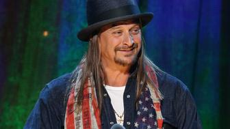 NEW YORK, NEW YORK - APRIL 08:  Kid Rock inducts Cheap Trick at the 31st Annual Rock And Roll Hall Of Fame Induction Ceremony at Barclays Center on April 8, 2016 in New York City.  (Photo by Kevin Kane/WireImage for Rock and Roll Hall of Fame)