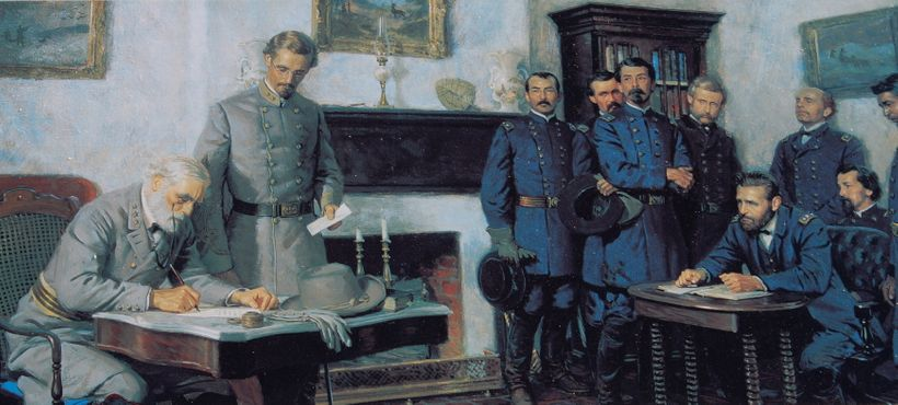 An historical representation of Lee and Grant at the surrender in Appomattox.