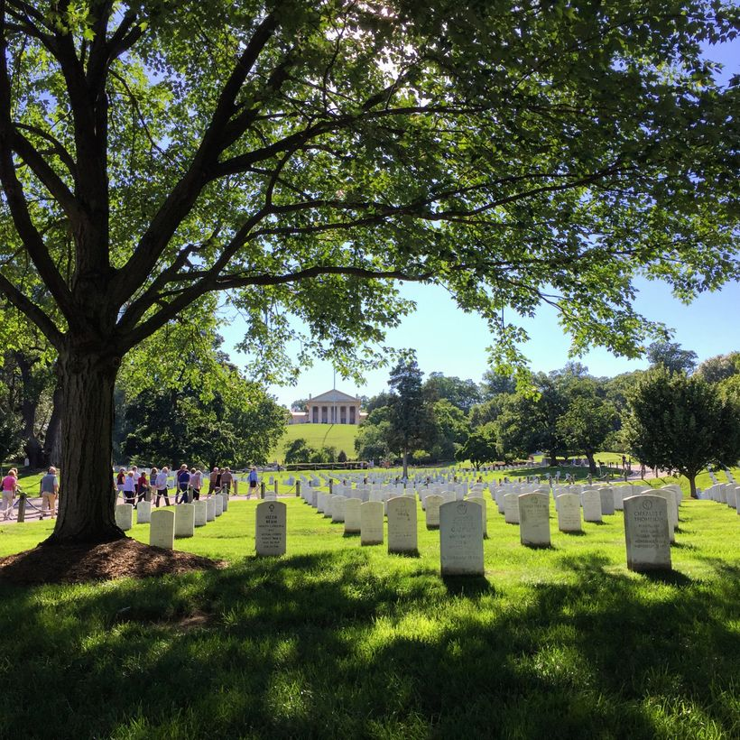All 400,000 graves in Arlington National Cemetery are on ground once owned by Robert E. Lee.  His former home, Arlington Hous