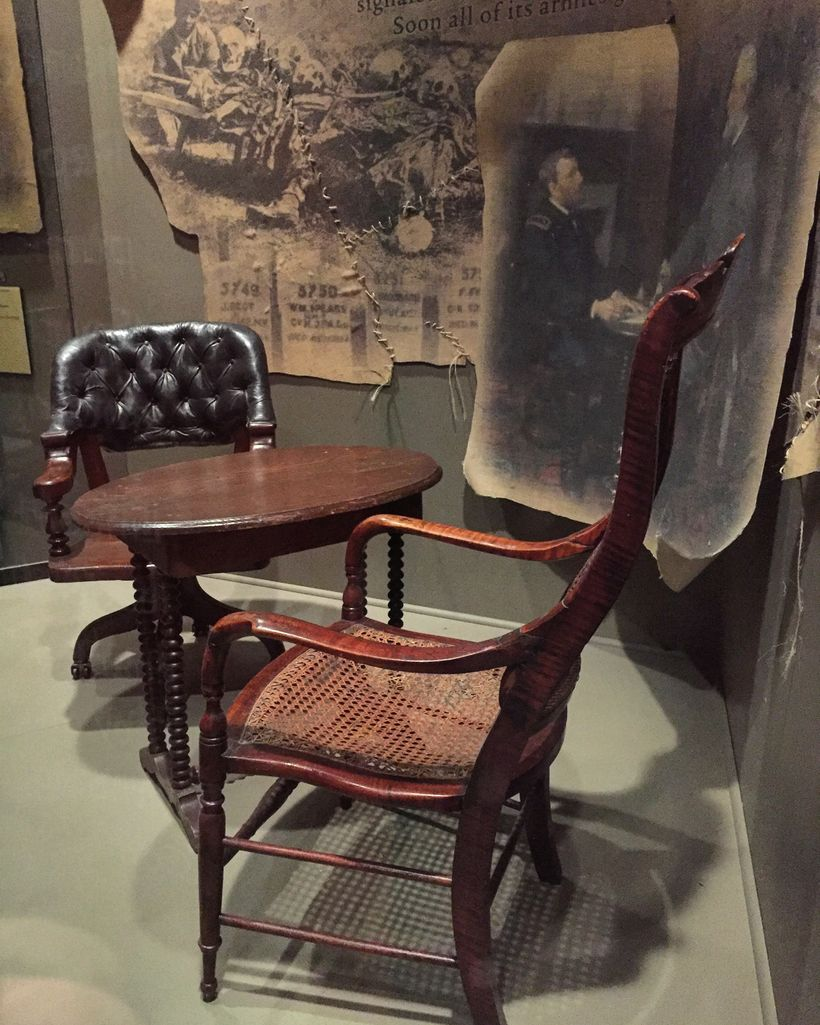 Grant sat in the black leather chair and used this table.  Lee sat in the wicker chair.  Both chairs and tables were seized a