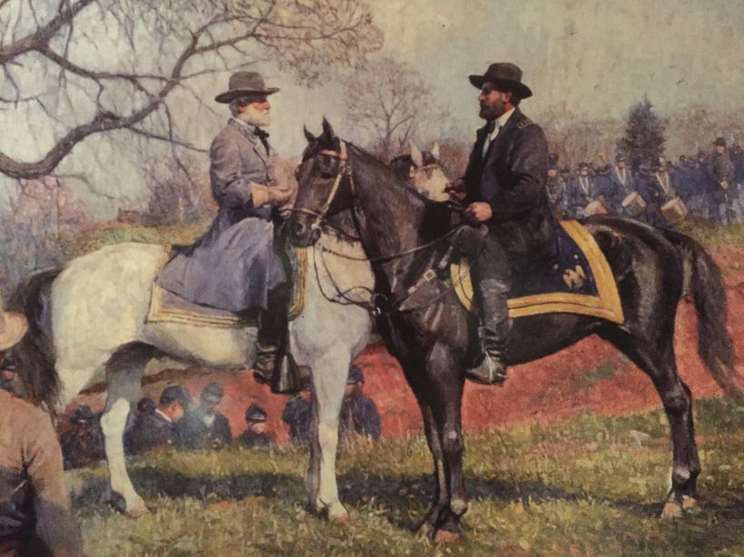 Lee and Grant met the next day on horseback for a brief chat.  Among the many soldiers reuniting with old friends was Grant.