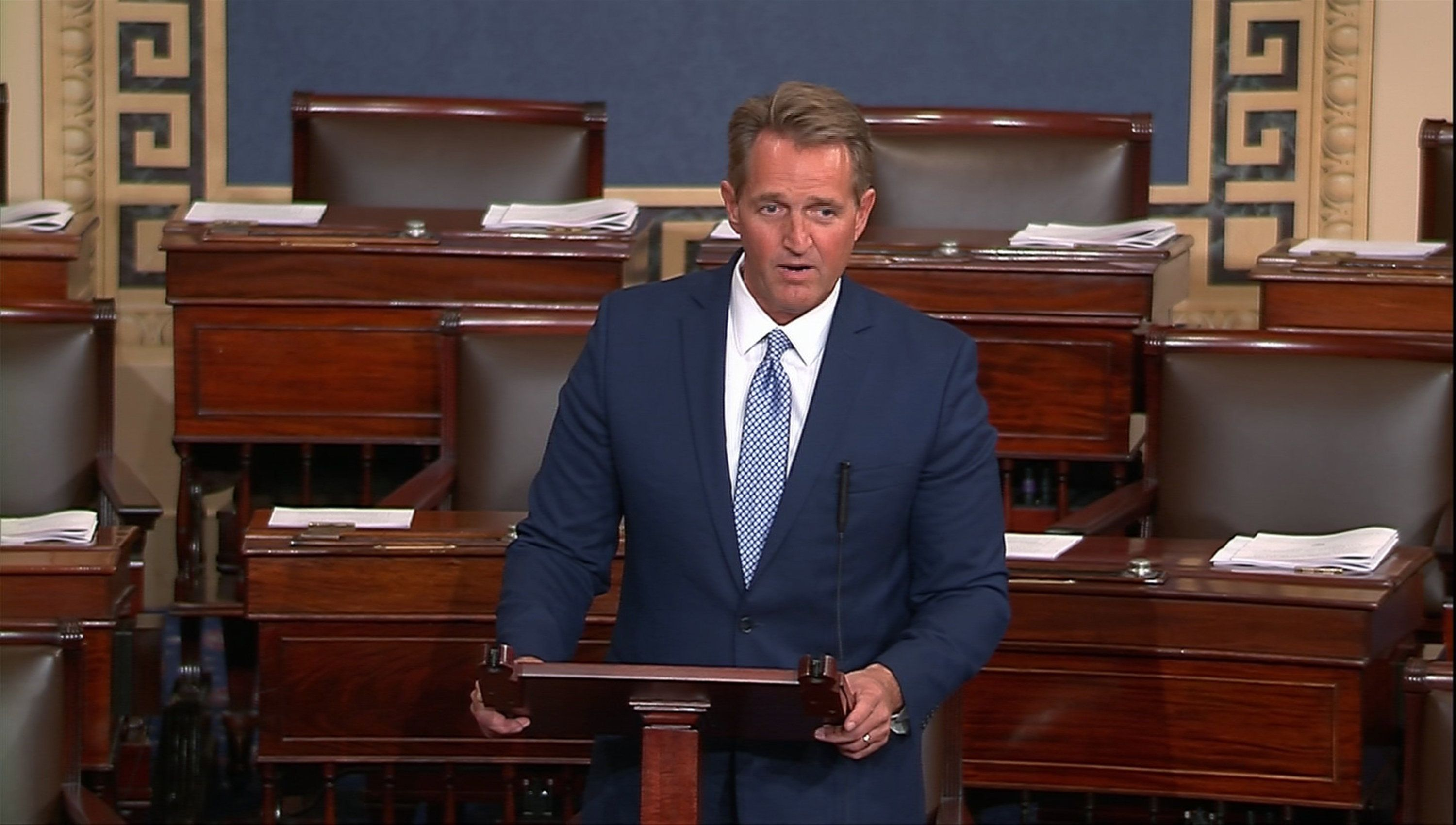 U.S. Senator Jeff Flake (R-AZ) announces he will not seek re-election as he speaks on the Senate floor in this still image taken from video on Capitol Hill in Washington, U.S., October 24, 2017. REUTERS/Senate TV via Reuters/Handout